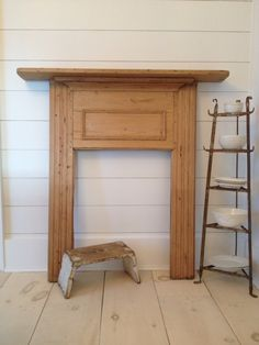 waxed pine antique fireplace mantle