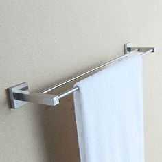 Polished Finish Stainless Steel Towel Bars with Double Towel Racks – USD $ 27.99
