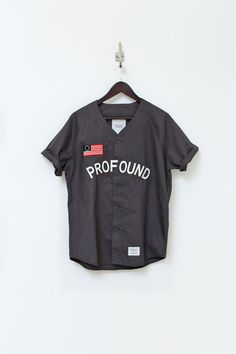 Profound Aesthetic Baseball Jersey in Charcoal http://profoundco.com/collections/jerseys/products/button-down-baseball-jersey-charcoal
