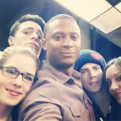 Emily Bett Rickards, Colton Haynes, David Ramsey, Katie Cassidy and Grant Gustin <3