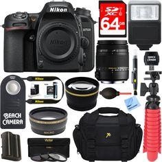 Nikon D7500 Digital SLR Camera Body  Sigma 18-250mm Macro Lens Accessory Kit