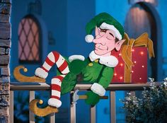 Snoozin' Elf Outdoor Christmas Decoration