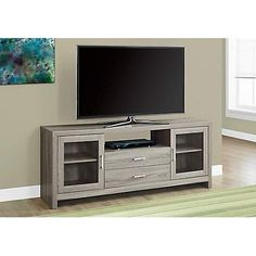 Hawthorne Ave Tv Stand / Dark Taupe Drawers / Glass Doors I 2713 Media Furniture, Furniture Deals, Living Room Furniture, Furniture Outlet, Online Furniture, Living Rooms, Home Entertainment Furniture, Diy Entertainment Center, Tv Stand With Glass Doors