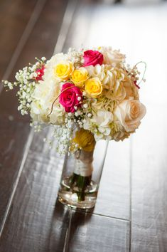 Yellow and Pink Bouquet| Yellow, Pink & Navy  Southern Wedding|Photo by: Britney Kay Photography