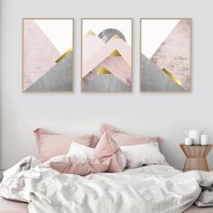 Printable art Downloadable prints Set of 3 Mountains Blush Pink Grey Gold Scandinavian Modern Contemporary Poster Wall decor Triptych Sale