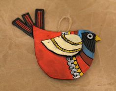 Red Ceramic Bird Wall Hanging Ornament Gift by TheCuriousCritter