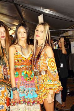 Cassi Van Den Dungen, Rachel Rutt & Georgia May Jagger backstage at Camilla wearing Maripossa headpieces and jewellery for Mercedes-Benz fashion week s/s/13-14