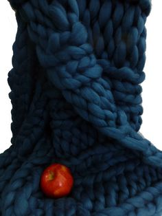 Chunky Knit Blanket Bluebell 30x45 Merino Hand by ColorwaysGallery, $195.00