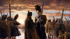 Napoleon decorating a veteran Grenadier Guard at Berezina