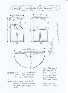 Esquema de modelagem de vestido com renda tamanho 54.