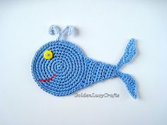 CROCHET Whale Applique, Sea Motif, Ocean, finished item