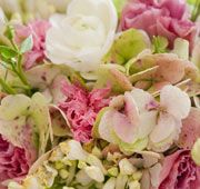 #bouquet with hydrangea, ranunculus and lisianthus in white, green and pink
