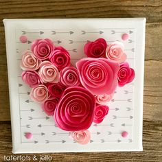 Easy 10 Minute Valentine's Day Wall Art [and free template] Perfect for your decor, or would make a beautiful wedding gift too! -- Tatertots and Jello