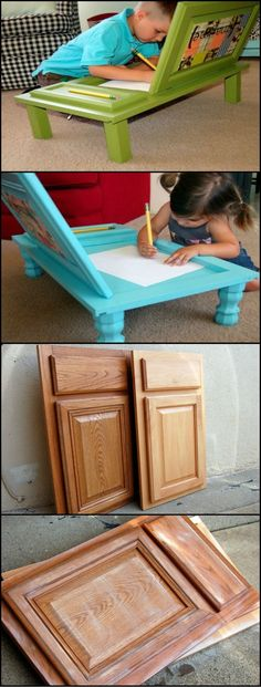 How To Build An Art Desk From Repurposed Cupboard Door  http://theownerbuildernetwork.co/sj2t  Every day of the week kitchens get dumped. Instead of throwing them away, why not recycle some of the cupboard doors into an art desk for the little ones?