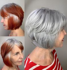 Transitioning to Gray Hair NEW Ways to Go Gray in 2020 - Hair Adviser Red Hair To Silver, Red Hair To Grey, Grey Hair Care, Dyed Blonde Hair, Long Gray Hair, Lilac Hair, Red Hair Going White, Pastel Hair, Green Hair