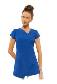 SPA14-FULL-LENGTH-copy Salon Uniform, Spa Uniform, Uniform Ideas, Corporate Uniforms, Spring Spa, Work Uniforms, Side Split, Electric Blue, Scrubs