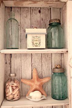 bath...I have a CRAP load of blue mason jars! PERFECT!