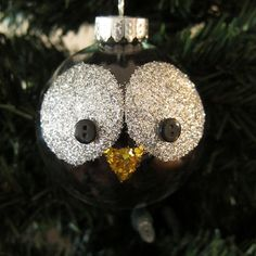Just Crafty Enough – Project: Glitter Owl Christmas Ornament Easy Ornaments, Penguin Ornaments, Unicorn Ornaments, Owl Ornament, Glitter Ornaments, Diy Christmas Ornaments, Christmas Decorations, Christmas Owls, Christmas Crafts For Kids