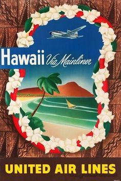 Hawaii via Mainliner ~ United Airlines vintage travel ad / poster