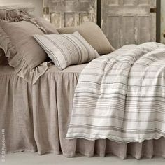 A statement making, 4-ply, 100% linen mesh bedspread with a dramatic 30 in. gathered skirt by Pine Cone Hill is sure to please. Shown with Gradation Linen duvet cover.