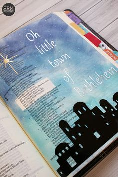 Use vinyl in your Bible to create this little town of Bethlehem Bible journaling.