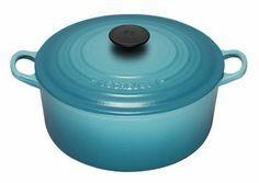 Le Creuset Cast Iron Round Casserole, Teal, 22 cm: Amazon.co.uk: Kitchen & Home