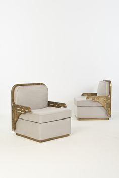 Art Déco - Anonymous; Polished Bronze Arm Chairs by Maison Jansen, 1920s.
