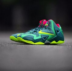 5b1ac77aa836 Here is new images via of the Nike LeBron XI 11 GS Green   Volt Sneaker