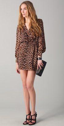 Wild thing - Parker Long Sleeve Wrap Dress - Leopard print
