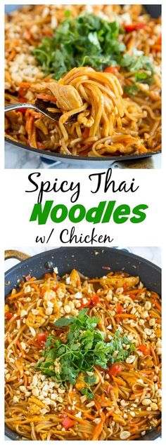 Spicy Thai Noodles with Chicken – a super quick and easy dinner that is on the table in minutes. Full of great Thai flavor with easy to find ingredients!