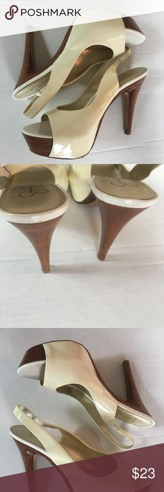 JESSICA SIMPSON 'Astor' Platform Slingback Pumps Jessica Simpson Astor, peep toe heels Cream with wood heels.  Size 8.5B.  Thank you for your interest! Jessica Simpson Shoes