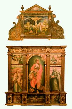 ESCUELA ESPAÑOLA S. XVII, Retablo de madera tallada y policromada. España. S. XVII, 345 x 237 cm.