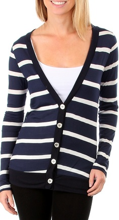 aa587f5d25 Striped Navy Blue Long Sleeve Flowing Shrug Sweater No. 1 Funwear ...