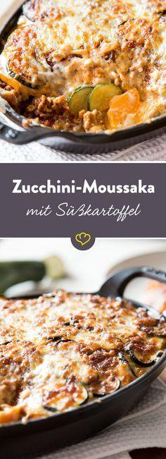 Buntes Moussaka - geschichtet in einem heißen Auflauf zwischen Fleisch, Béchamelsauce und Gouda fühlen sich Zucchini und Süßkartoffel pudelwohl.                                                                                                                                                                                 Mehr