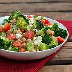 Broccoli, Bell Pepper, and Chickpea Salad with Feta and Zesty Lemon Dressing