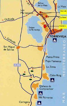 Karta Fran Alicante Till Torrevieja.Costa Blanca Localizacion Spain In 2019 Alicante Spain Javea