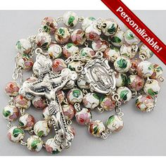 """White Cloisonne Rosary, $165.95. The word Cloisonne comes from the French word """"cloisons"""", which means """"partition"""". It is an ancient technique that uses multiple steps to blend metal and glass. #CatholicCompany"""