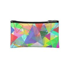 Colorful geometric triangle pattern cosmetic pouch makeup bag ❤ liked on Polyvore featuring beauty products, beauty accessories, bags & cases, cosmetic purse, makeup bag case, travel toiletry case, purse makeup bag and cosmetic bags
