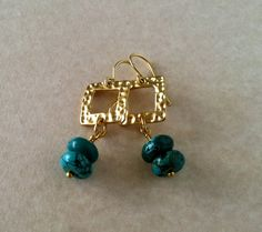 Gold Vermeil and Turquoise Rondelle Stone Dangle by BijouxJewellry, $39.00