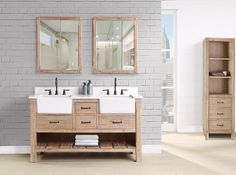 """Fall in love with the Napa 60"""" double bowl vanity which reflects the beauty of California wine country with its organic wood grain. It starts at $1,950 and offers plenty of storage space for all your bathroom essentials."""