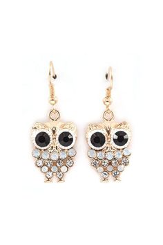 Owly Earrings in Aspen Blue Crystal on   Emma Stine Limited