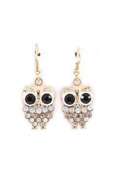 Owly Earrings in Aspen Blue Crystal on   Emma Stine Limited