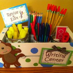 Writing center! Make editing and revising more fun by allowing students to use pens, colored pencils, and highlighters. I painted the box myself and used tin cans as holders for the writing tools