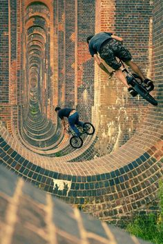 Adventure extreme sports bike ride Stu and Les at Ouse Viaduct in Portsmouth, United Kingdom - photo by mikedeere - Pinkbike