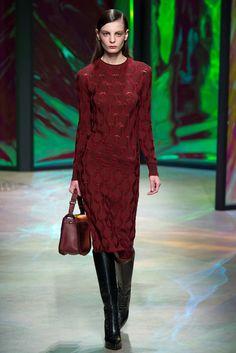 Thakoon | Fall 2015 Ready-to-Wear | 24 Red knit long sleeve midi dress