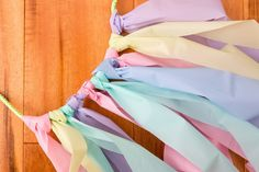 Pastel streamers tied in a row.