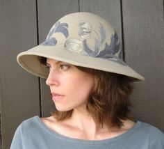 Couture Hat with Floral Embroidery, Light Taupe and Blue, Womens Fashion Hat, Handmade Millinery on Etsy, $900.00