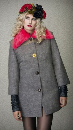 Coat SUGAR CANE - wool coat with tapestry - Bartinki