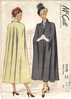 Long, elegant late capes ~ McCall vintage sewing_patterns capes - My DIY Tips Vintage Dress Patterns, Clothing Patterns, Vintage Dresses, Vintage Outfits, Skirt Patterns, Coat Patterns, Blouse Patterns, 1940s Fashion, Look Fashion