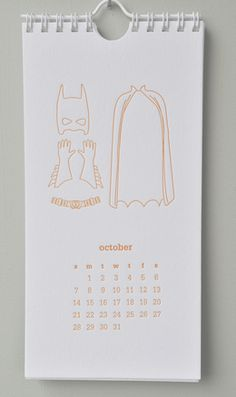 darling letterpress calendar with different clothes for each month
